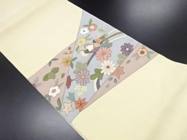 【IDN】 切りばめ風菊・楓・鴛鴦模様織り出し袋帯【リサイクル】【中古】【着】