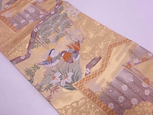 【IDN】 屏風に草花・鴛鴦模様織出し袋帯【リサイクル】【中古】【着】