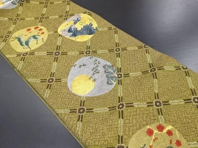 【IDN】 未使用品 金銀糸鹿に荒波・月模様織り出し袋帯【リサイクル】【着】
