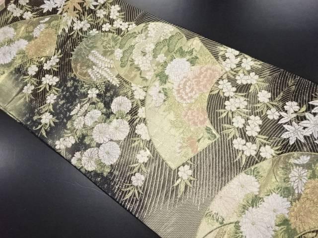 【IDN】 本金地紙に藤・菊・牡丹模様織り出し袋帯【リサイクル】【中古】【着】