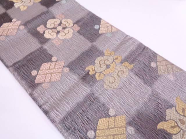 【IDN】 未使用品 創喜庵製 市松に抽象模様織出し袋帯【リサイクル】【着】
