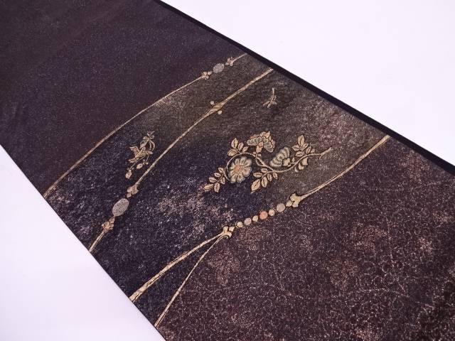 【IDN】 横段に花鳥模様織出し袋帯【リサイクル】【中古】【着】