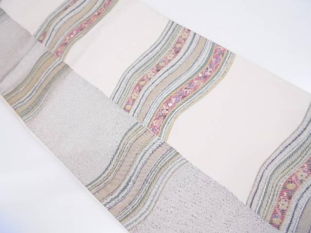 【IDN】 縞に変わり横段・草花模様織出し袋帯【リサイクル】【中古】【着】