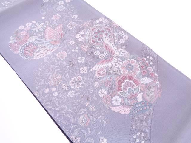 【IDN】 未使用品 蝶に草花模様織出し袋帯【リサイクル】【着】