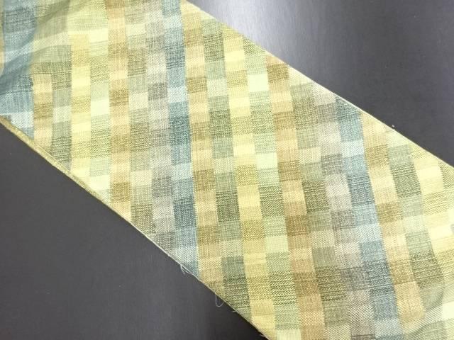【IDN】 ひなや製 斜め格子模様織り出し袋帯【リサイクル】【中古】【着】