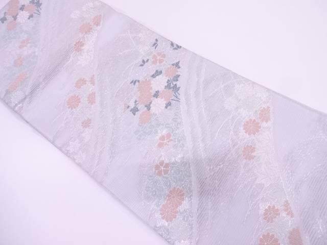 【IDN】 絽紗草花模様織出し袋帯【リサイクル】【中古】【着】