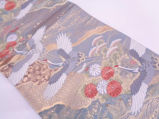 【IDN】 純金道長取りに群鶴・草花模様織出し袋帯【リサイクル】【中古】【着】