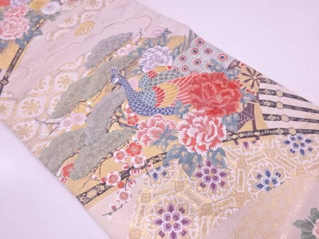 【IDN】 孔雀に松梅模様織出し袋帯 【リサイクル】【中古】【着】