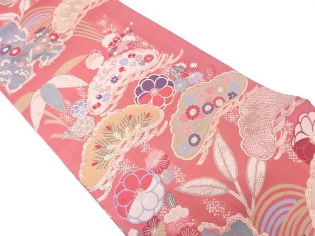【IDN】 松笹に宝づくし模様織出し袋帯【リサイクル】【中古】【着】