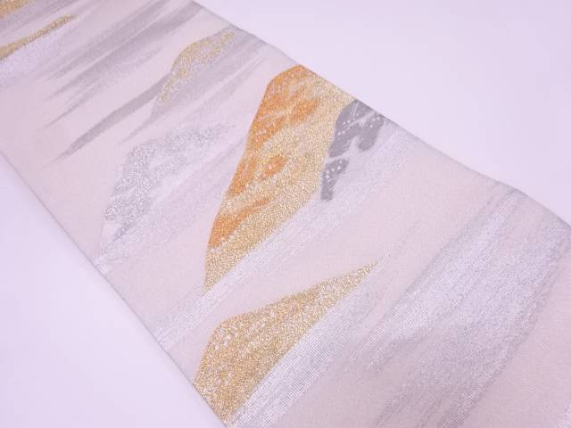 【IDN】 プラチナ箔綴れ霞に山模様織出し袋帯【リサイクル】【中古】【着】