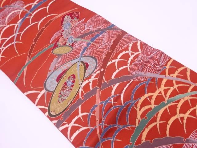 【IDN】 未使用品 白綾苑大庭製 鼓胴に波・雪芝模様織出し袋帯【リサイクル】【着】