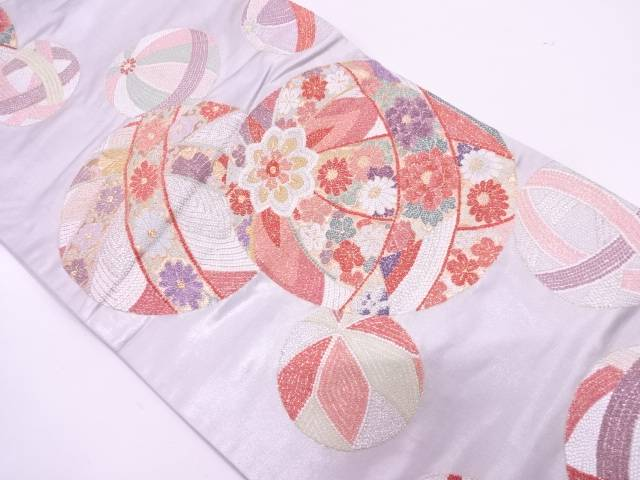 【IDN】 毬に草花模様織出し袋帯【リサイクル】【中古】【着】