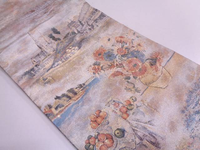 【IDN】 西洋の美術模様織出しリバーシブル全通袋帯【リサイクル】【中古】【着】
