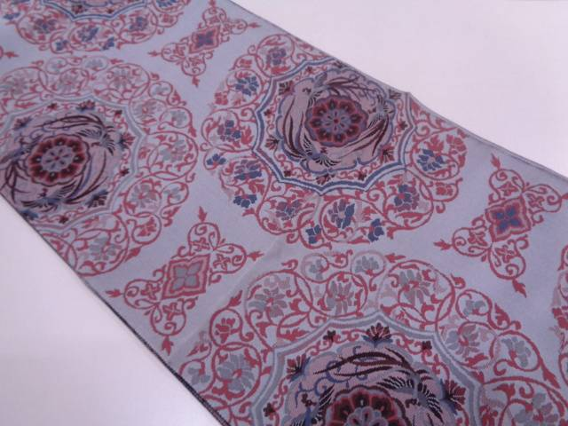 【IDN】 未使用品 赫本厳製 華紋に極楽鳥模様織出し袋帯(未仕立て)【リサイクル】【着】