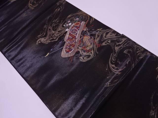 漆流鏑馬装束模様織出し袋帯【リサイクル】【着】 未使用品 【IDN】 押田和男製