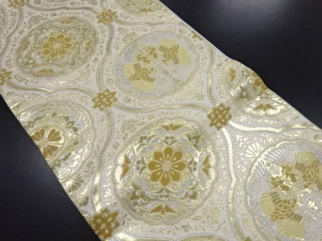 【IDN】 金銀糸立涌に華紋向かい鳳凰模様織り出し袋帯【リサイクル】【中古】【着】