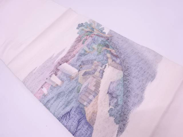 【IDN】 すくい織家屋に船・風景模様織出し袋帯【リサイクル】【中古】【着】