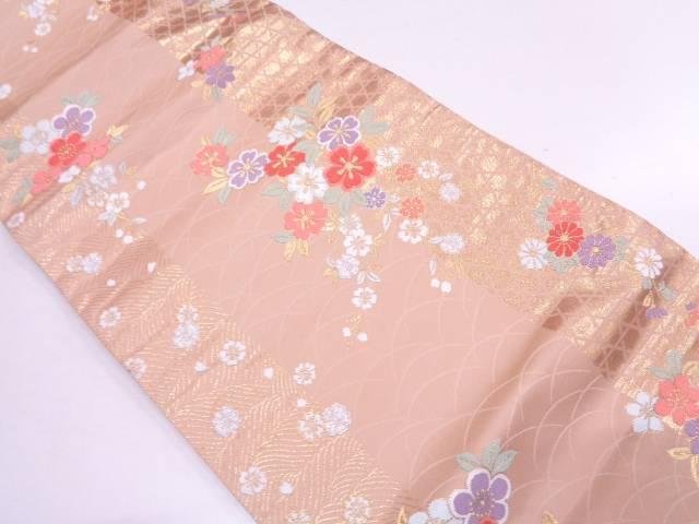 【IDN】 草花に網目模様織出し袋帯【リサイクル】【中古】【着】