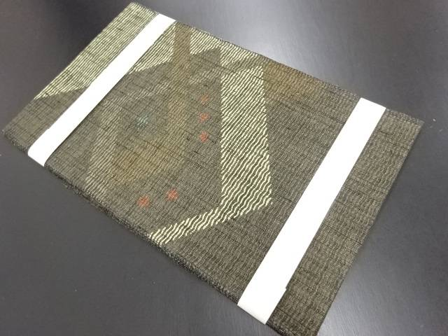 【IDN】 未使用品 金通し幾何学模様織り出し名古屋帯【リサイクル】【着】
