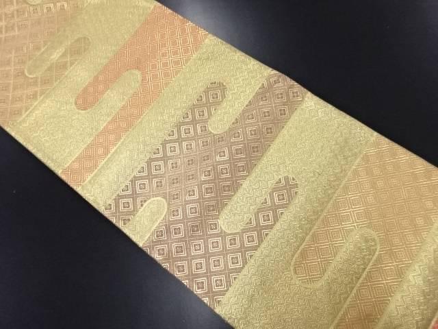 【IDN】 佐賀錦 ヱ霞に菱模様織り出し袋帯【リサイクル】【中古】【着】