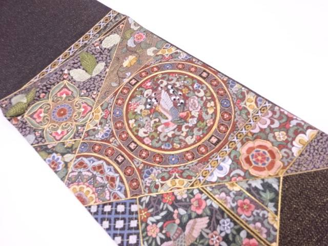 【IDN】 相良蘇州刺繍絵皿に花鳥模様袋帯【リサイクル】【中古】【着】