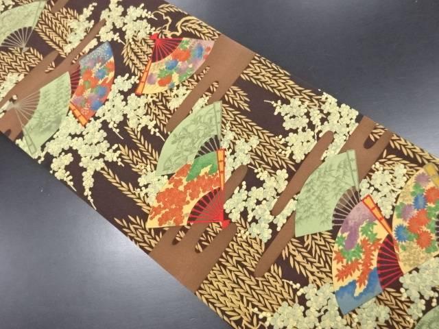 【IDN】 枝垂れ柳に扇・花模様全通洒落袋帯【リサイクル】【中古】【着】