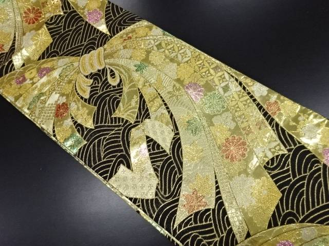 【IDN】 本金束ね熨斗に花・古典柄模様織り出し袋帯【リサイクル】【中古】【着】