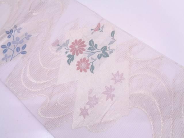 【IDN】 絽紗流水に色紙・草花模様織出し袋帯【リサイクル】【中古】【着】