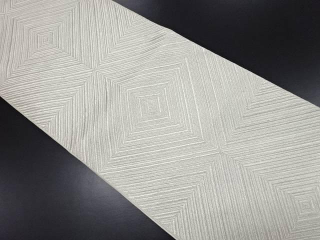 【IDN】 銀糸幾何学模様織り出し全通袋帯【リサイクル】【中古】【着】