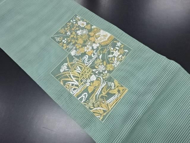 【IDN】 絽 家屋に花・蛇籠模様刺繍袋帯【リサイクル】【中古】【着】
