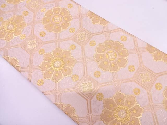 【IDN】 じゅらく黄金箔蜀江紋に花模様織出し袋帯【リサイクル】【中古】【着】