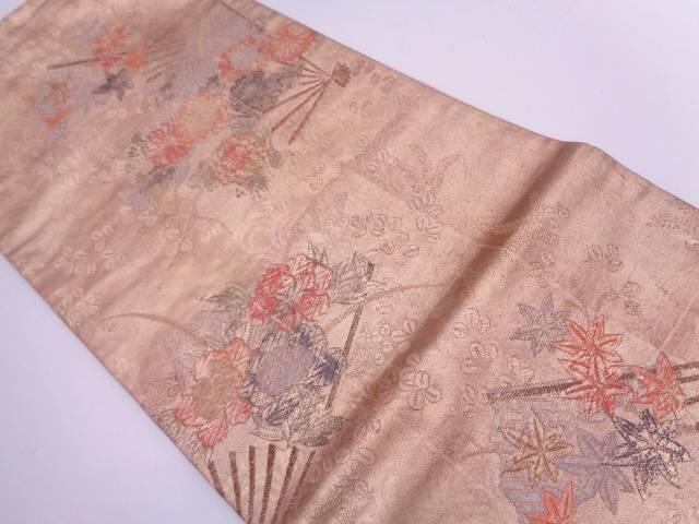 【IDN】 扇に秋草模様袋帯【リサイクル】【中古】【着】
