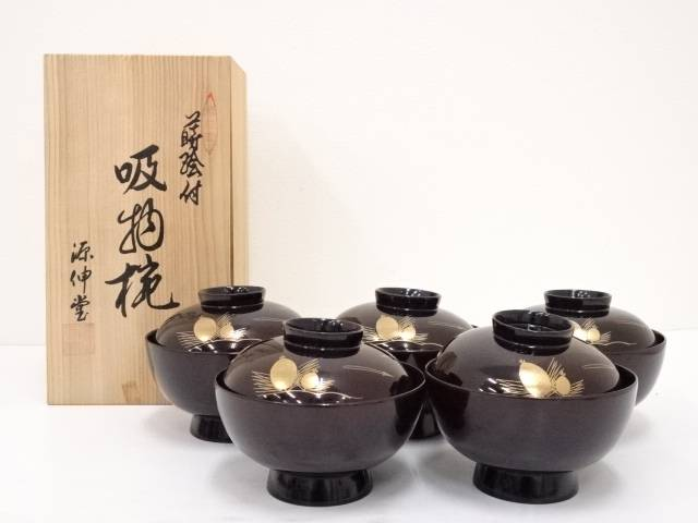 【IDN】 源信堂造 越前塗松蒔絵吸物椀5客【中古】【道】