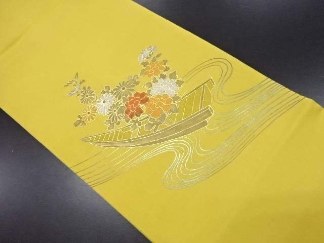 【IDN】 塩瀬流水に花舟模様刺繍名古屋帯【リサイクル】【中古】【着】