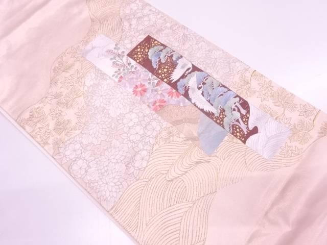 【IDN】 蘇州刺繍短冊に鶴・松梅模様袋帯 【リサイクル】【中古】【着】