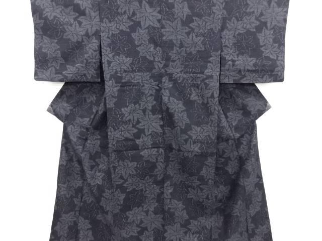 【IDN】 楓模様織り出し本場結城紬80亀甲単衣着物(石下)【リサイクル】【中古】【着】