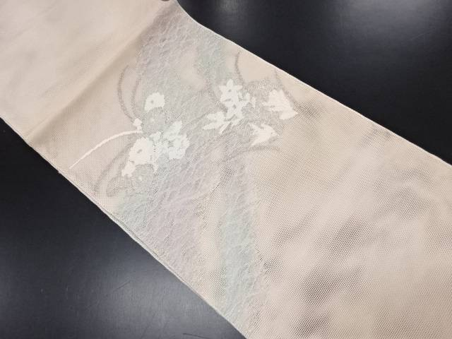 【IDN】 未使用品 西陣まいづる製 紗 道長取に草花模様織り出し袋帯(未仕立て)【リサイクル】【着】