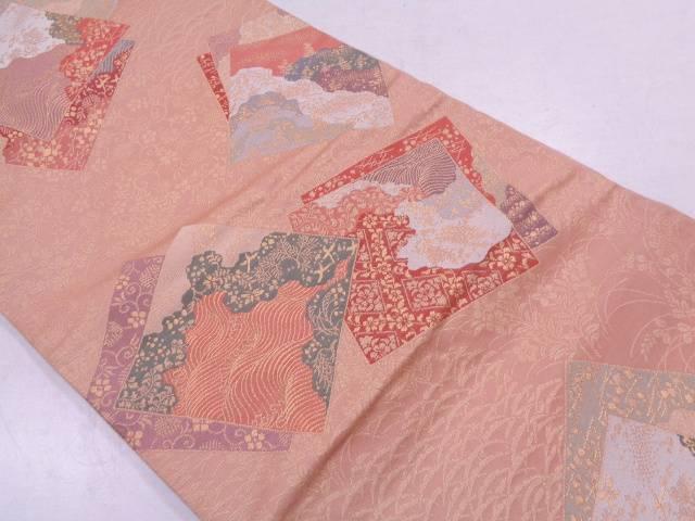 【IDN】 重ね色紙に花鳥模様織出し袋帯【リサイクル】【中古】【着】