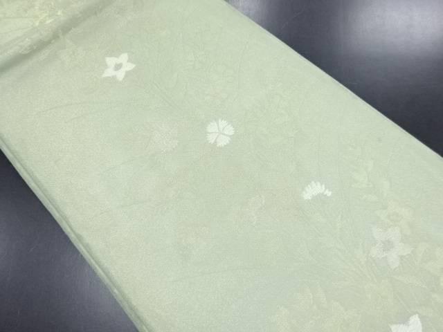 【IDN】 紗桔梗に撫子模様織り出し袋帯【リサイクル】【中古】【着】