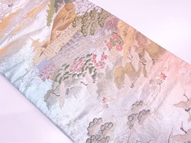 【IDN】 引箔清水寺に群鶴模様織出し袋帯【リサイクル】【中古】【着】