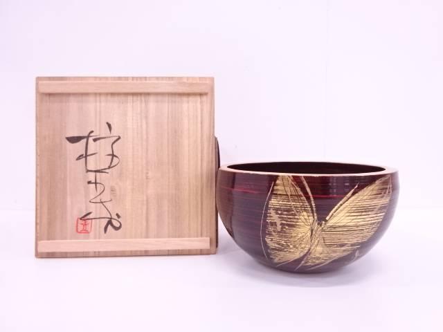 【IDN】 榎木盛造 摺漆塗り蒔絵蝶菓子鉢【中古】【道】