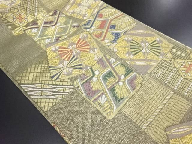 【IDN】 未使用品 吉啓織物製 金糸色紙に若松模様織り出し袋帯(未仕立て)【リサイクル】【着】