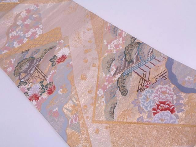 【IDN】 九百錦屋敷に風景模様織出し袋帯【リサイクル】【中古】【着】