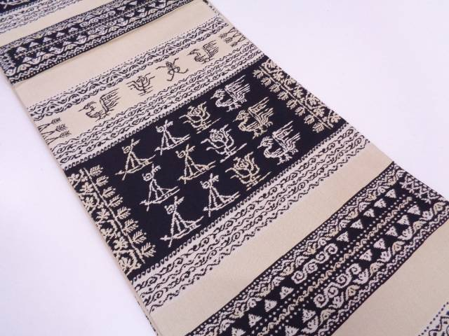 【IDN】 阿弥織横段に鳥・抽象模様織出し袋帯【リサイクル】【中古】【着】