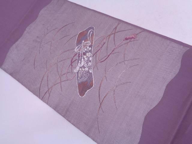 【IDN】 紗 芝草に萩・組紐模様織出し袋帯【リサイクル】【中古】【着】