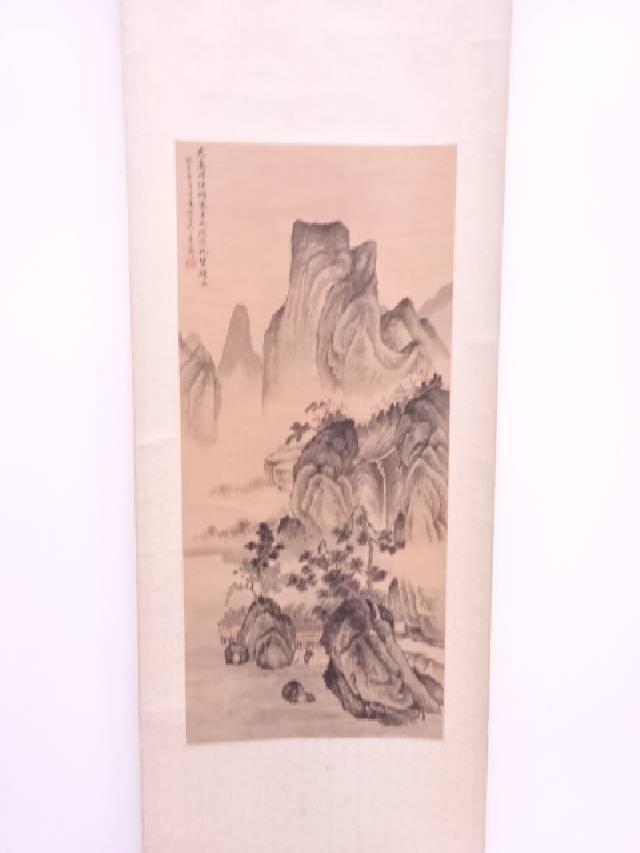 【IDN】 中国画 作家物 山水 肉筆絹本掛軸【中古】【道】