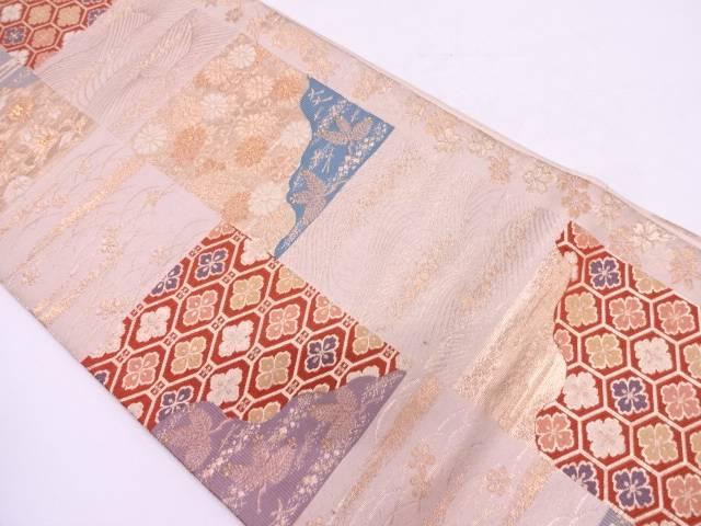 【IDN】 色紙に草花・古典柄模様織出し袋帯【リサイクル】【中古】【着】