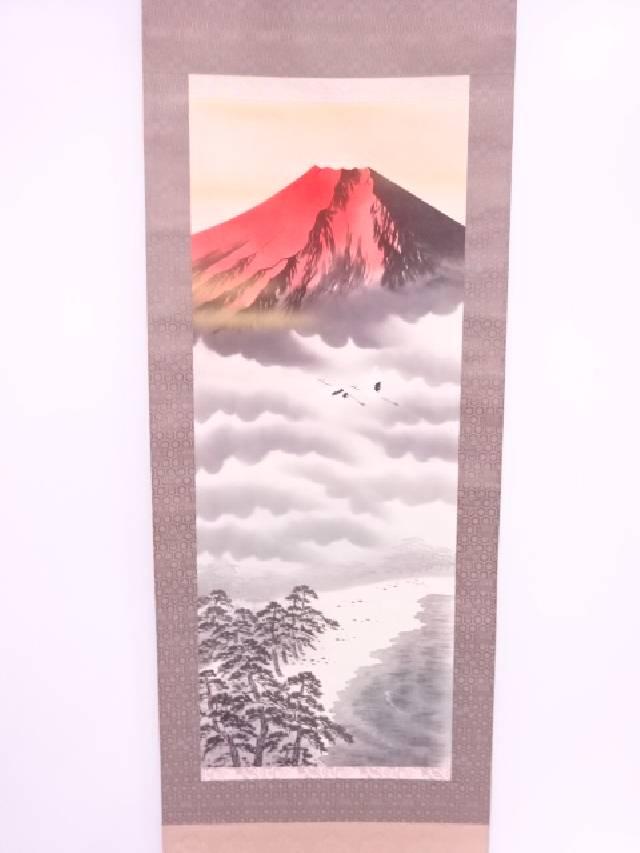 【IDN】 日本画 寿峰筆 赤富士 肉筆絹本掛軸(共箱)【中古】【道】