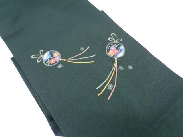 【IDN】 縮緬地波に草花模様刺繍名古屋帯【リサイクル】【中古】【着】