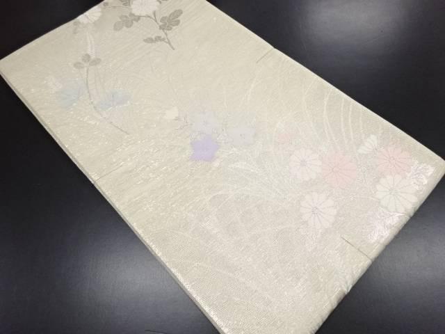 【IDN】 未使用品 絽 銀通し 菊に秋草模様織り出し袋帯【リサイクル】【着】